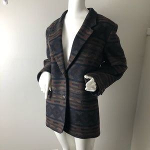 Vintage Wool Blazer Tribal Aztek Print Neutral